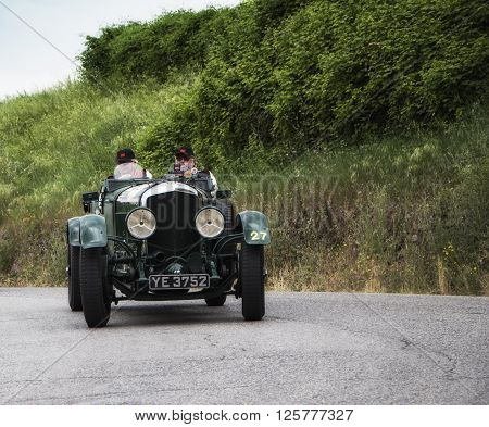 PESARO, ITALY - MAY 15: BENTLEY 6 1/2 Litre 1927 on an old racing car in rally Mille Miglia 2015 the famous italian historical race (1927-1957) in May 2015