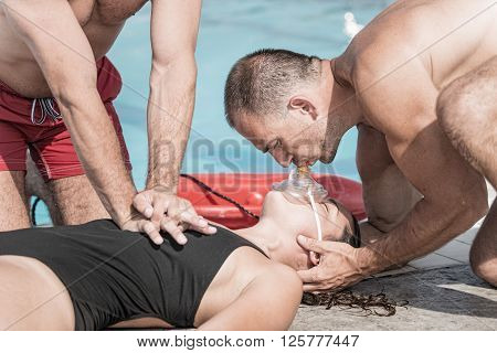 CPR training for lifeguards, close up, selective focus