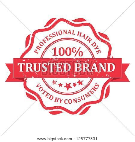 Trusted brand Professional Hair Dye rubber grunge label. Print colors used.