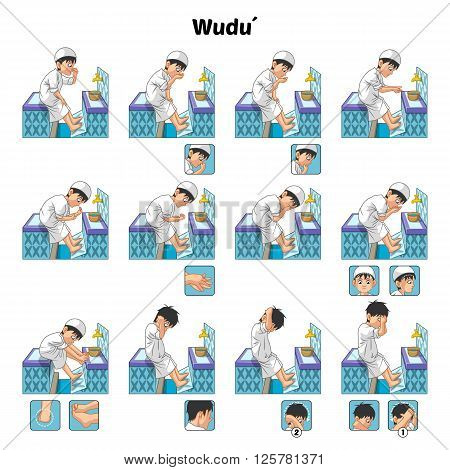Muslim wudu or ablution or purification ritual guide step by step using water perform by boy