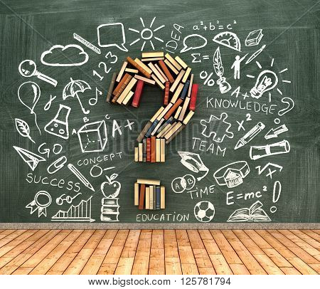 classroom blackboard and book iin shape question marks l with chalk drawing icons 3d illustration