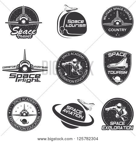 Set of retro and modern space travel badges and labels