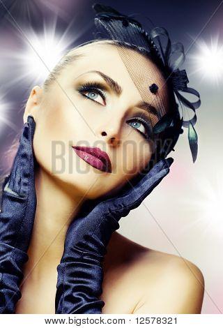 Beautiful Young Woman portrait.Modern makeup