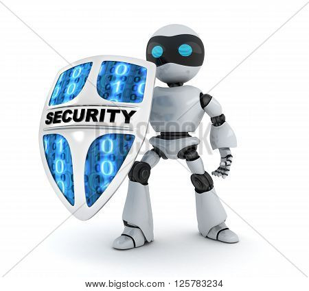 Modern robot and shield security (done in 3d)