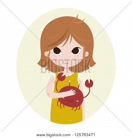 Cute horoscope. Zodiac signs. Cancer. Series of cartoon zodiac characters. Horoscope for kids or teens, template for card, invitation, calendar or etc. Vector illustration of the girl isolated on white background.