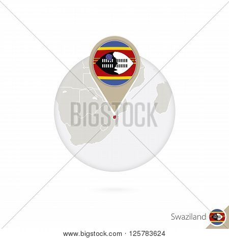 Swaziland Map And Flag In Circle. Map Of Swaziland, Swaziland Flag Pin. Map Of Swaziland In The Styl