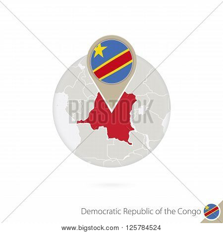 Dr Congo Map And Flag In Circle. Map Of Dr Congo, Dr Congo Flag Pin. Map Of Dr Congo In The Style Of