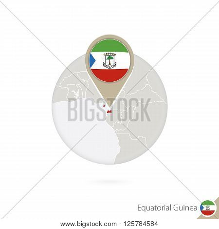 Equatorial Guinea Map And Flag In Circle. Map Of Equatorial Guinea, Equatorial Guinea Flag Pin. Map