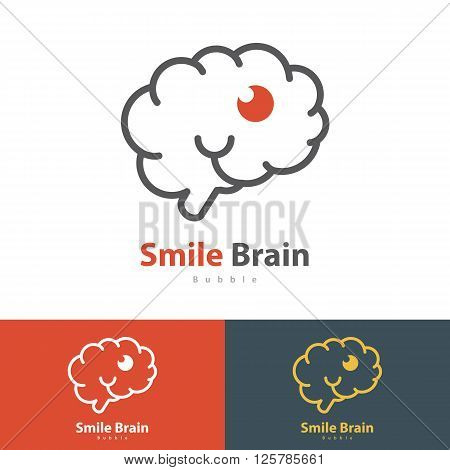 Smile Brain symbol icon. Vector illustration Logo template design with business card
