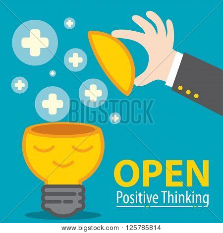 Business hand open meditation of Light bulb with plus symbol flying. Open positive thinking in business concept. Cartoon flat and line design. Vector illustration