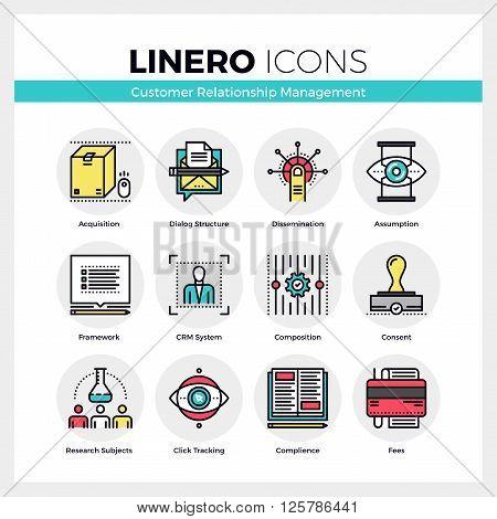Customer Relationship Management Linero Icons Set