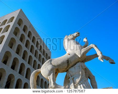 Horse Sculpture near the Square of the Colosseum in Rome.