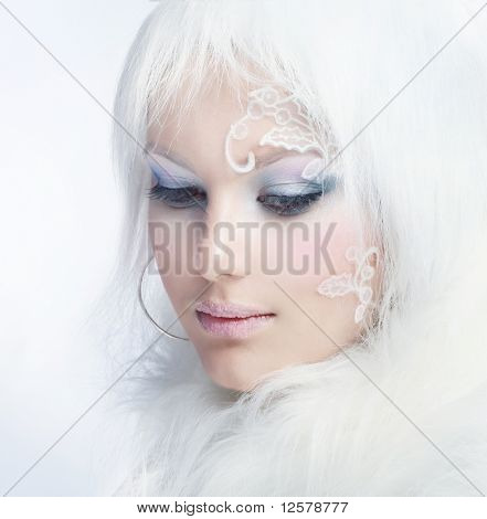 Beautiful Girl's Face.Creative Winter Makeup poster