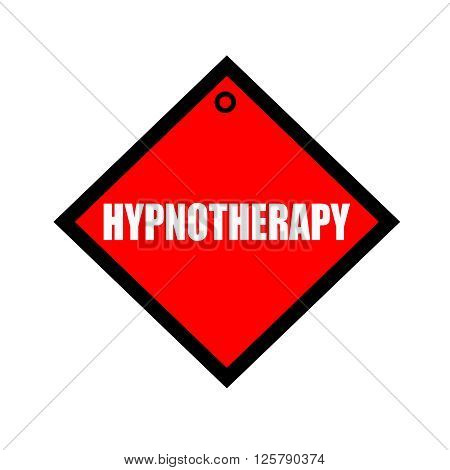 HYPNOTHERAPY black wording on quadrate red background