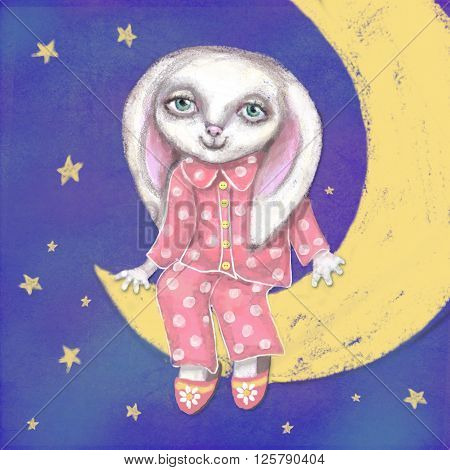 Good night bunny on the moon card. Dreams come true. Cute hand drawn beautiful card with bunny which sitting in pajamas and slippers on crescent. Can be used as a interior decor in a children's room.