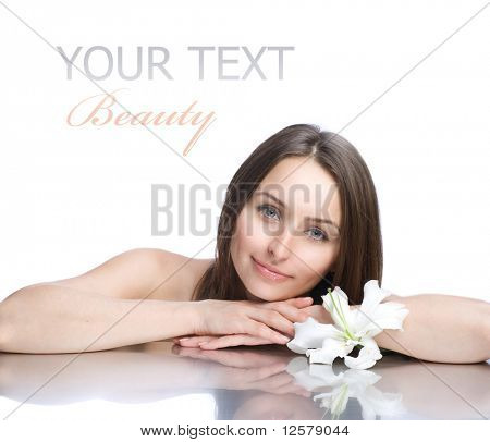 Beautiful Spa Woman portrait.Clear fresh skin.Isolated on white