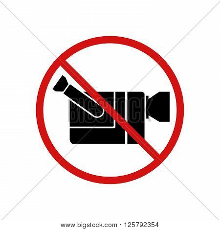 Video cam not allowed, video recording forbidden sign isolated on white