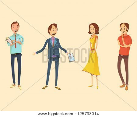 Shop assistant retro cartoon set with salesman and customers isolated vector illustration