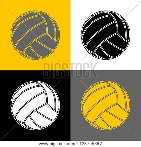 Illustration volleyball ball in four variants as background.
