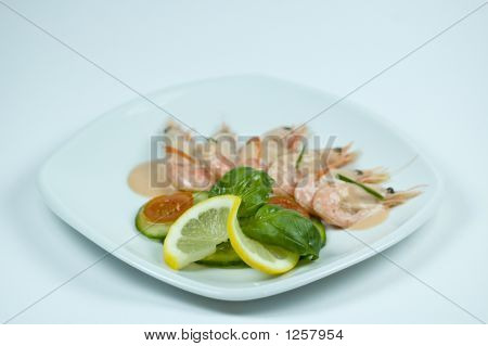 a picture of a plate with fresh shrimp poster