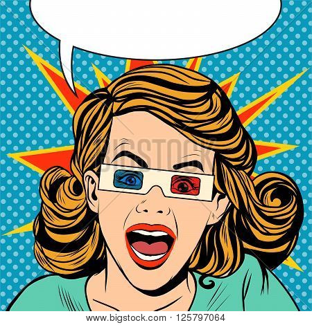 woman viewer stereo movie and yells pop art retro style. Glasses for cinema. Spectacle horror and action