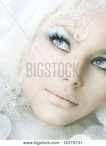 Creative Winter Makeup.Beautiful Girl's Face.