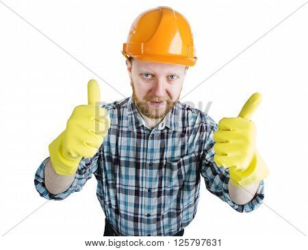 Bearded man in an orange construction helmet and gloves