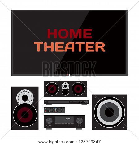 Home cinema system. Home theater flat vector illustration. TV, loudspeakers, player, receiver, subwoofer, remote for home movie theater and music