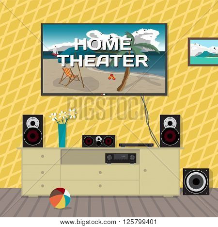 Home cinema system in interior room. Home theater flat vector illustration. TV, loudspeakers, player, receiver, subwoofer for home movie theater and music in the apartment
