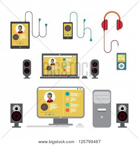 Home sound system. Home stereo on home computer flat vector illustration for music lovers. Loudspeakers, player, computer, laptop, smartphone, tablet, headphones for listening to music