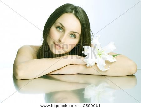 Beautiful Spa Woman portrait.Clear fresh skin.