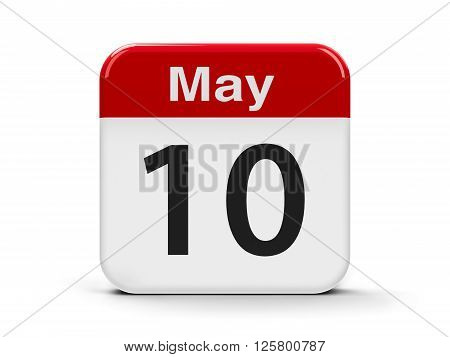Calendar web button - The Tenth of May three-dimensional rendering 3D illustration