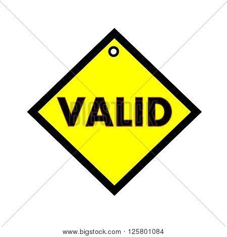 VALID black wording on quadrate yellow background