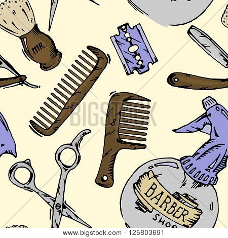 Vintage tools of barber shop. Colored hand drawn vector stock seamless background pattern