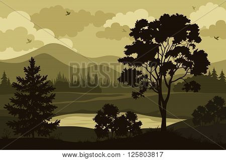 Evening Forest Landscape, Silhouettes Maple and Fir Tree, Bushes, Grass on the Mountain Lake Bank and Cloudy Sky with Birds. Vector