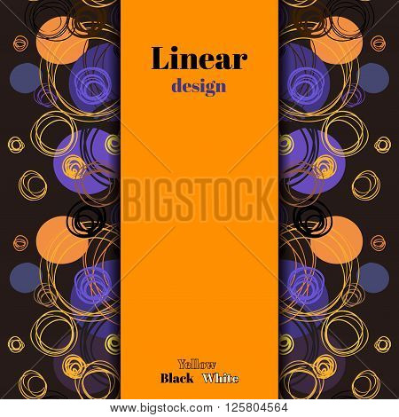Orange purple blue geometric background. Hand drawn outline circles ornament in dark background. Vertical border rapport pattern, stripe with text. Wrapping or bedding fabric vector graphic design