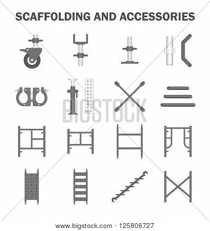 Scaffolding and accessories icon sets on white.