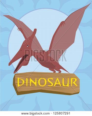 Dinosaur pterosaur silhouette against the sun .