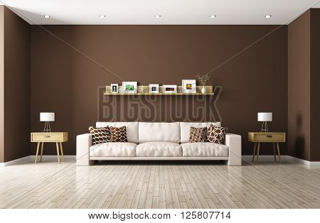 Modern Living Room With Beige Sofa 3D Rendering