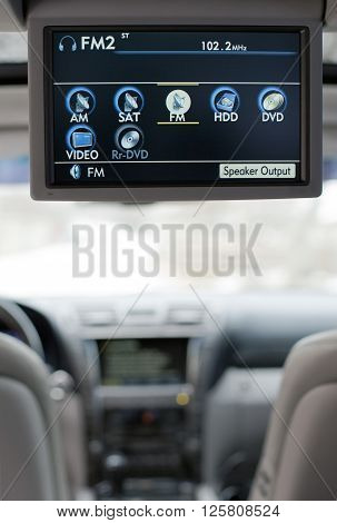 Luxury car entertainment system informative opened display