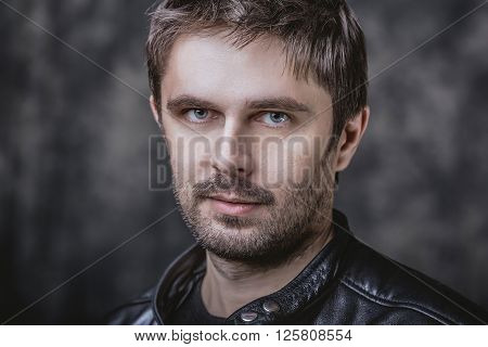 Handsome middle aged male beauty closeup portrait