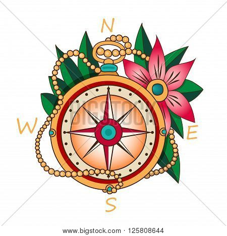 Vintage Compass With Flowers And Leaves. Vacation And Tourism Icon. Black And White Vector Decorative Elements. Vintage Compass Tattoo. Vintage Compass Rose. Vintage Compass For Sale.