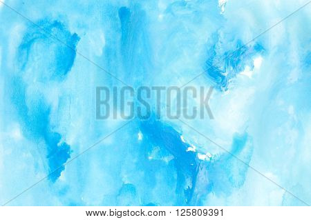 Blue Watercolors On Paper Texture - Background Design - Handpainted Element