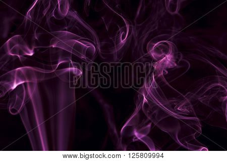 Motion of purple smoke, smoky background, horizontal view.