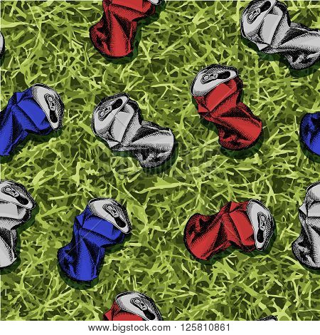 Crumpled empty soda or beer can. Colorful hand drawn vector stock illustration. Seamles background pattern