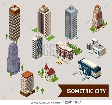 Isometric city isolated icon set with different types of buildings and adjoined territory vector illustration