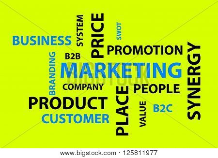 Abstract yellow background with different marketing words
