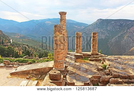 Famous temple of Apollo in Delphi, Greece