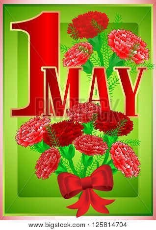Postcard for holiday of Spring and Labor. Mayday. May 1 with bouquets of red carnations on green background. Vector illustration