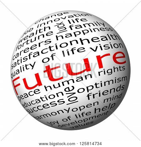 informative Future Wordcloud on white background 3d Illustration